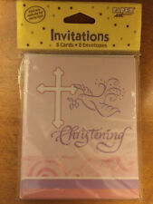 "(48) Faithful Dove Pink Invitations ""Christening"" Cards & Envelopes"