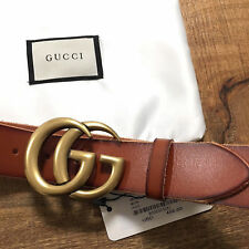 Auth GUCCI Brown MARMONT 4cm Belt GOLD GG Buckle size 110/44 fits 38-40 UNISEX