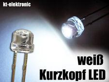 10 Stück LED 5mm straw hat weiß, Kurzkopf, Flachkopf 2000mcd 110°