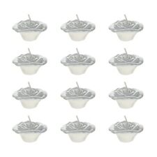 "Mega Candles - Unscented 2"" Floating Flower Candles - Silver, Set of 12"