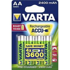 4 batterie stilo AA ricaricabili 2400 mAh VARTA = consumo di 3600 batterie alcal