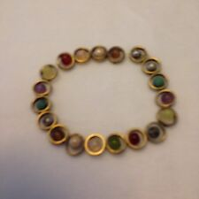 RETRO STRETCH BRACELET GOLD TONE RINGS WITH ASSORTED GLASS, PLASTIC & METAL BEAD