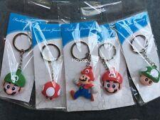 20pcs Super Mario Bros mushroom head 3D PVC Rubber Toys gift Key chain Keyring