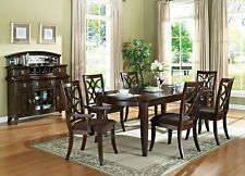 Traditional Cherry Brown Dining Room - 7pcs Rectangular Table & Chairs Set IACX