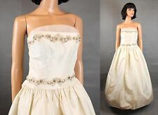 Vintage Prom Dress XS Champagne Off White Taffeta Long Strapless Wedding Gown