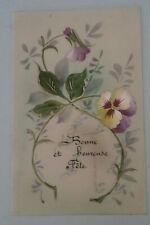 Carte postale CPA fantaisie celluloïd décor peint Bonne et heureuse fête