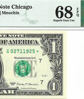 2017 $1 CHICAGO * STAR * ⭐️ FRN, PMG SUPERB GEM UNCIRCULATED 68 EPQ BANKNOTE