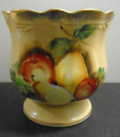 VINTAGE HAND PAINTED YELLOW RUFFLE EDGE PEDESTAL BOWL 5""