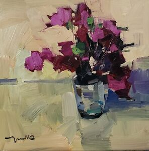 JOSE TRUJILLO Oil Painting IMPRESSIONISM PINK FLOWERS IN GLASS STILL LIFE NR COA