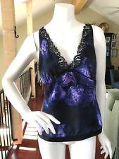 BANANA REPUBLIC Silk Top Sleeveless V Neck Purple Floral & Black NWOT Sz 8 M