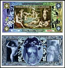 New Banque De L'Newdgaledonie 500 Francs Bathing Nude Ladies Fantasy Art Note!