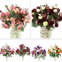 21 Köpfe Seidenblumen Künstliche Kunstblumen BluMentrauß Floristik Blumen D V6S2