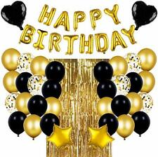 Black & Gold Birthday Party Decorations Set with Happy Birthday Balloons Banner