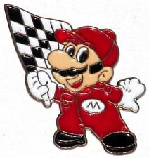 NINTENDO MARIO CHEQUERED FLAG PIN BADGE! SNES WII SUPER KART RACING F1 NES PROMO
