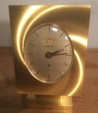 Jaeger LeCoultre 8-Day Alarm Clock, Gilded Rectangle Oval Dial Gold