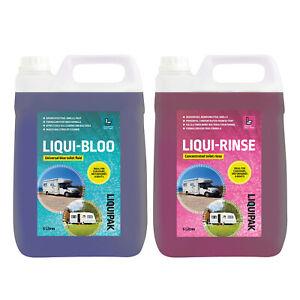 Toilet Chemical Twin Pack for Caravan & Motorhome- Liqui-Bloo & Liqui-Rinse 2x5L