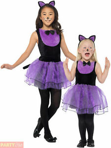 Girls Black Cat Costume Baby Toddler Halloween Fancy Dress Kids Animal Outfit