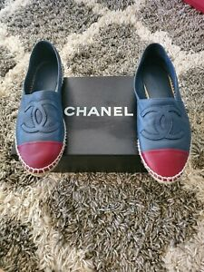 100% Authentic Blue/Red Chanel Espadrilles Flats Lambskin Leather-- Size 6
