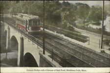 Middlesex Fells MA Trolley on Cement Bridge c1910 Postcard