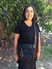 Leather black square purse bag crossbody built in wallet, tablet pocket w/ strap