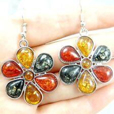 Precious Modernist teardrop golden honey pressed  amber earrings HE18