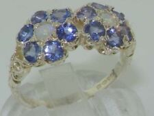Rare Solid 925 Sterling Silver Natural Tanzanite & Opal Victorian style Ring