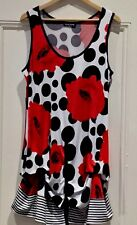 DAVID POND  Womens Tunic Dress size 16 Red white black floral as new stunning
