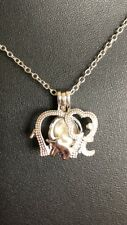 Silver Elephant Pearl Cage With 18'' silver Chain