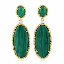 Emerald 0.11ct Diamond Malachite Gemstone Dangle Earrings Yellow Gold Jewelry