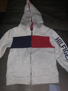 Tommy Hilfiger Boys Hoodie Gray Full Zip Size 18 Months
