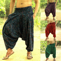 Men Loose Bohemian Aladdin Harem Trousers Casual Boho Hippy Gypsy Yoga Pant Plus