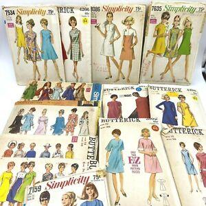 "Vintage Sewing Pattern Lot 14 1960s Dresses Bust 36"" Mod Simplicity COMPLETE PT3"