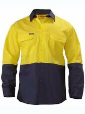 Bisley Cool Lightweight Drill Shirt LS XL Yellow/navy