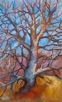 ORIGINAL by Margaret Sacke, Oil on Canvas  Impressionism Painting, Walnut Tree