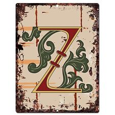 PP0534 Alphabet Medieval Initial Letter Z Chic Sign Bar Shop Store Home Decor