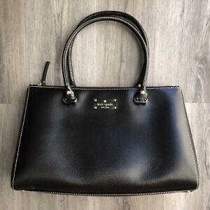 Kate Spade Black Wellesley Martine Leather XL Satchel Tote Handbag