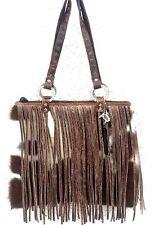 Raviani Western Leather & Brown Brindle Cowhide Handbag Purse w/ Fringe (1) -USA