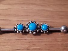 Turquoise stone Long Scaffold Bar Barbell Earring pole
