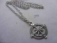 "Pendant, Long ( 30"" ) Chain Necklace A Compass / Gps Sign Tibetan Silver Charm"
