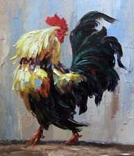 Oil painting animal fowl poultry cock rooster chanticleer canvas handpainted