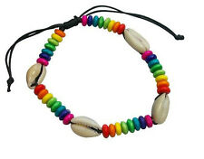 Gay Lesbian Rainbow Bead Cowrie Shell Black Waxed Cotton Wristband Bracelet