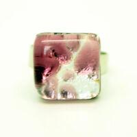 Purple Silver Coloured Handmade Murano Square Glass Ring Venice 1.5cm x 1.5cm