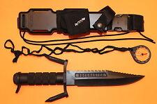 BUCK 184 BUCKMASTER BLACK OXIDE KNIFE W/LIQUID FILLED COMPASS W/POUCH BLK BEAUTY
