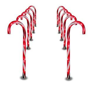 Prextex Christmas Candy Cane Pathway Markers Set of 10 Christmas Indoor/Outdoor