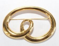 Brooch Pin - Signed Monet - Ribbon - Swirl - Loop - Gold Tone