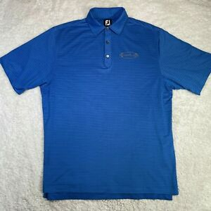 FootJoy Short Sleeve Golf Polo Shirt Mens Large Striped Blue Foot Joy FJ L