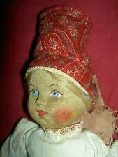 """Wonderful all orig. lbd. vintage Russian cloth Soviet Union stockinette 10"""" doll"""