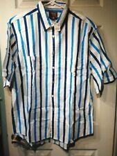 Vintage Cambridge Classics Men's Stripe Button Down Short Sleeve Shirt Large Nwt