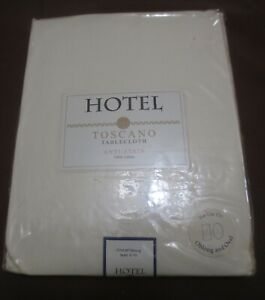 """New Hotel Anti-Stain Toscano Ivory Tablecloth Banquet size 70 by 108 """"  oblong"""