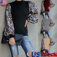 Womens Sequin Long Sleeve Tops Ladies Round Neck Casual Loose Blouse Pullover US